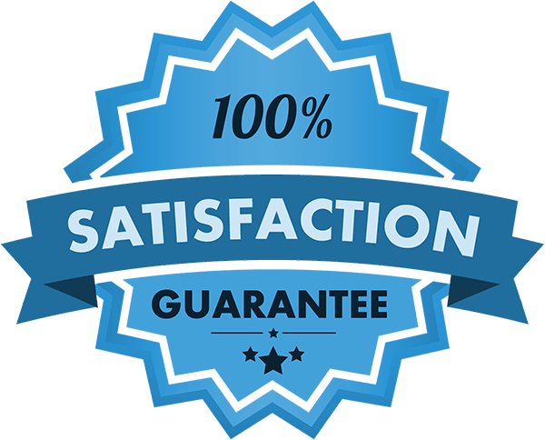 Illustration of a star shaped badge with '100% satisfaction guarantee' written across it