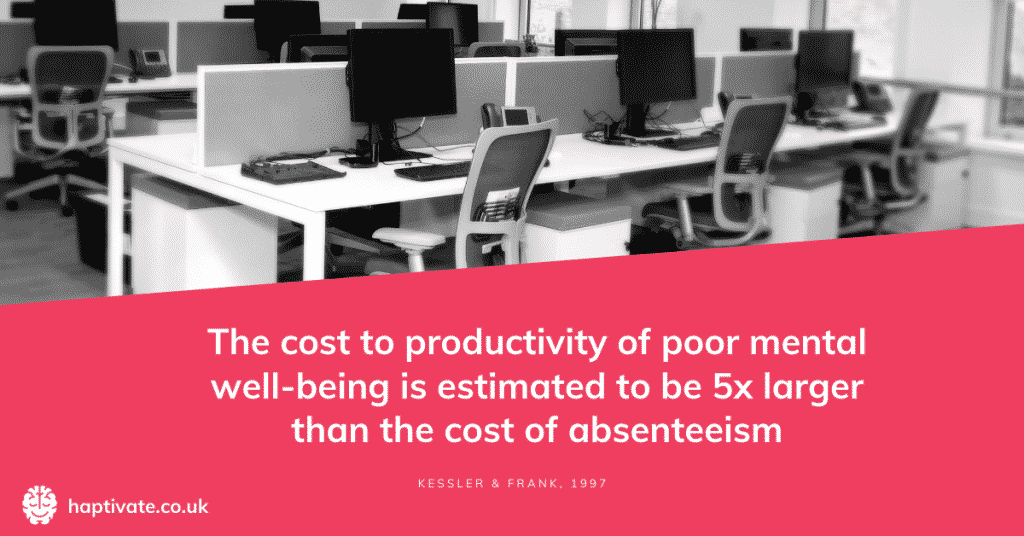 Infographic: The cost to productivity of poor mental wellbeing is estimated to be 5x larger than the cost of absenteeism