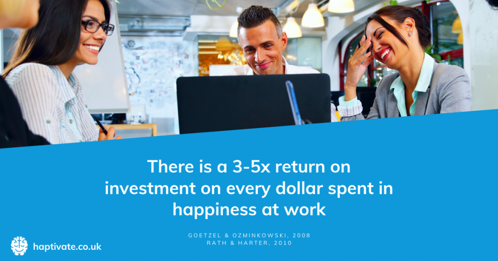 Infographic: There is a 3-5x return on investment for every dollar spent on happiness at work
