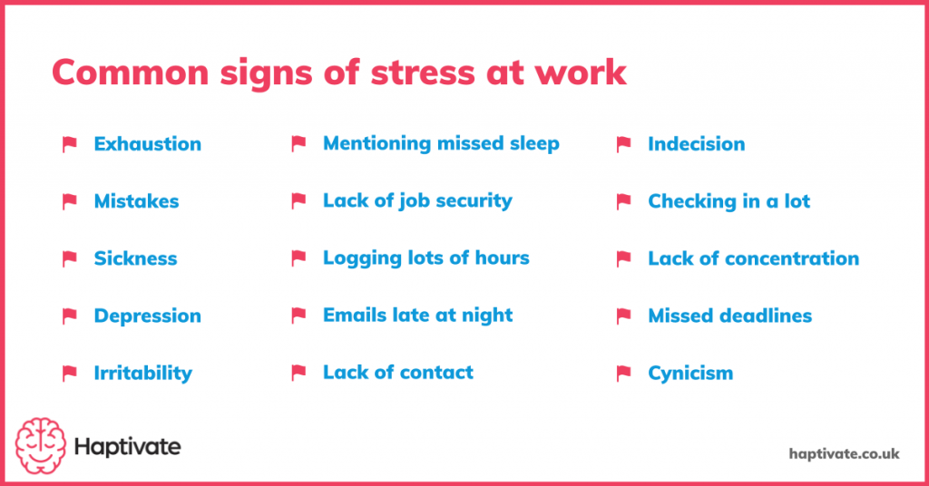 Summary of common signs of stress at work