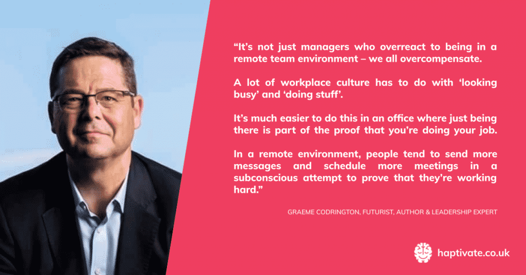 Quote from Graeme Codrington of TomorrowToday Global on the lack of productivity in office workers